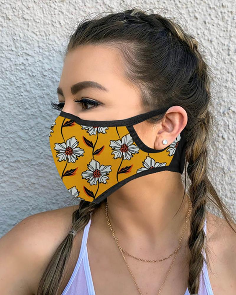 Floral Leaf Print Breathable Mouth Mask thumbnail