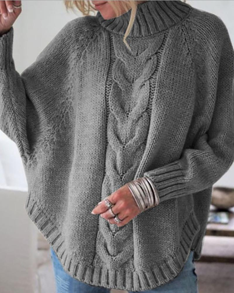 Solid High Neck Batwing Sleeve Sweater thumbnail