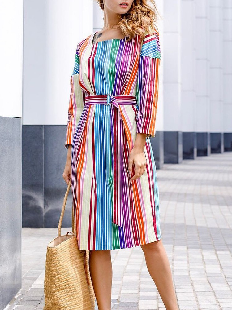 Colorful Stripes Self Belted Casual Dress