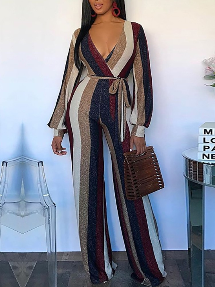 boutiquefeel / Colorful Striped V-Neck Belted Jumpsuits