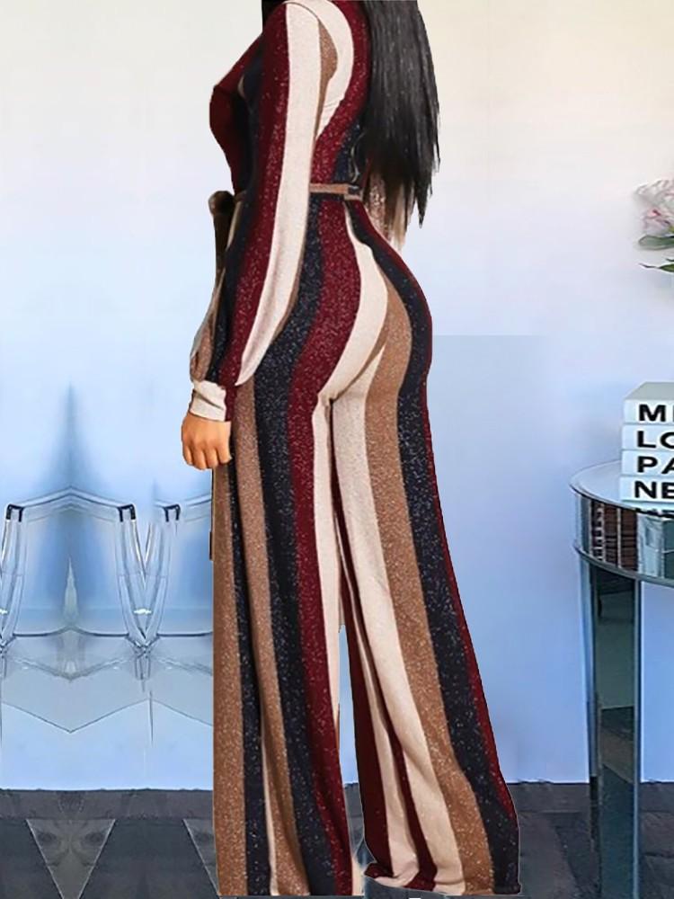 boutiquefeel / Colorful Striped V-Neck Belted Jumpsuits