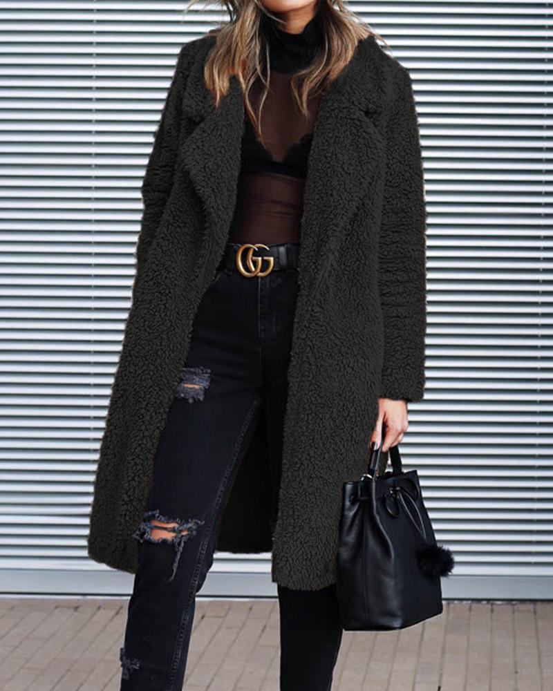 Solid Long Teddy Coat by Chic Me