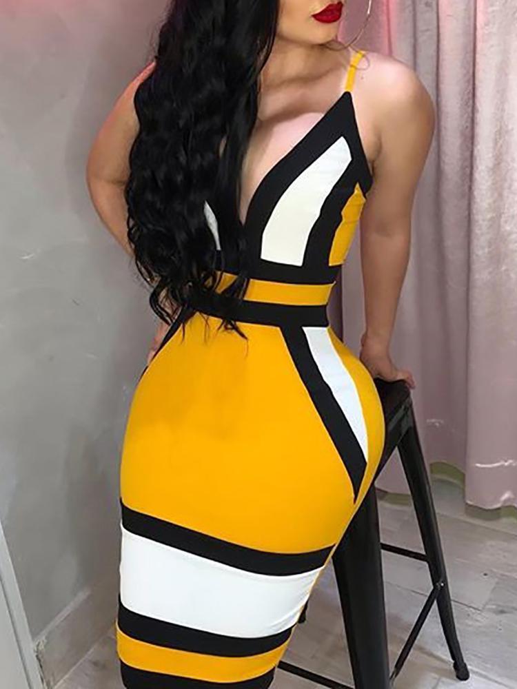 Contrast Color Spaghetti Strap Party Dress