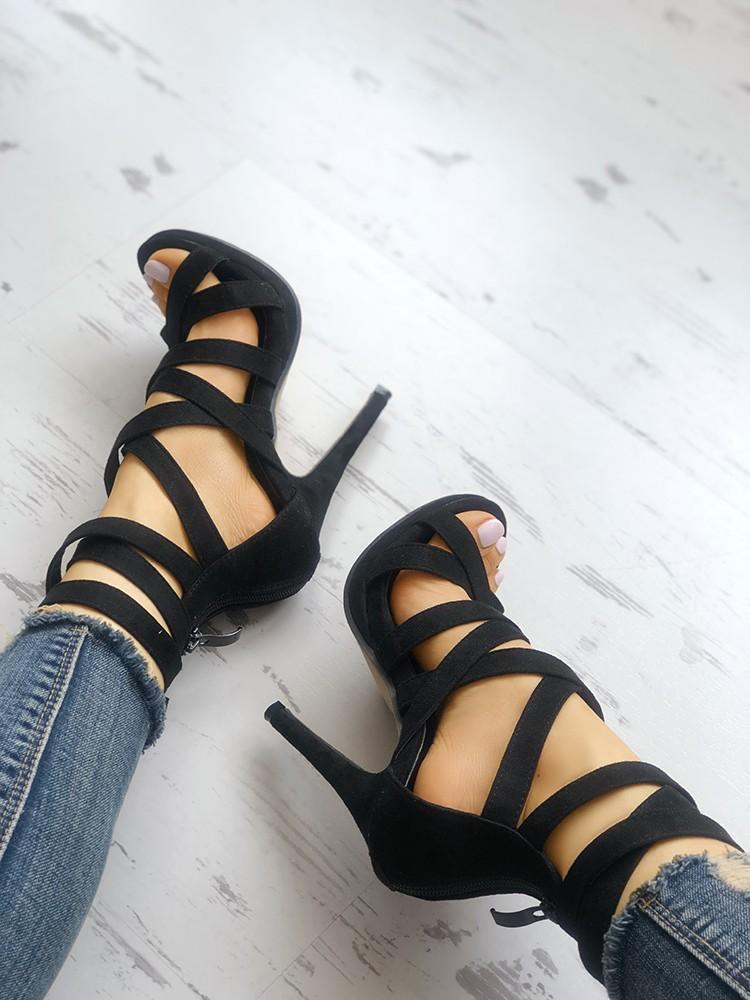 Solid Bandage Zipper Thin Heeled Sandals