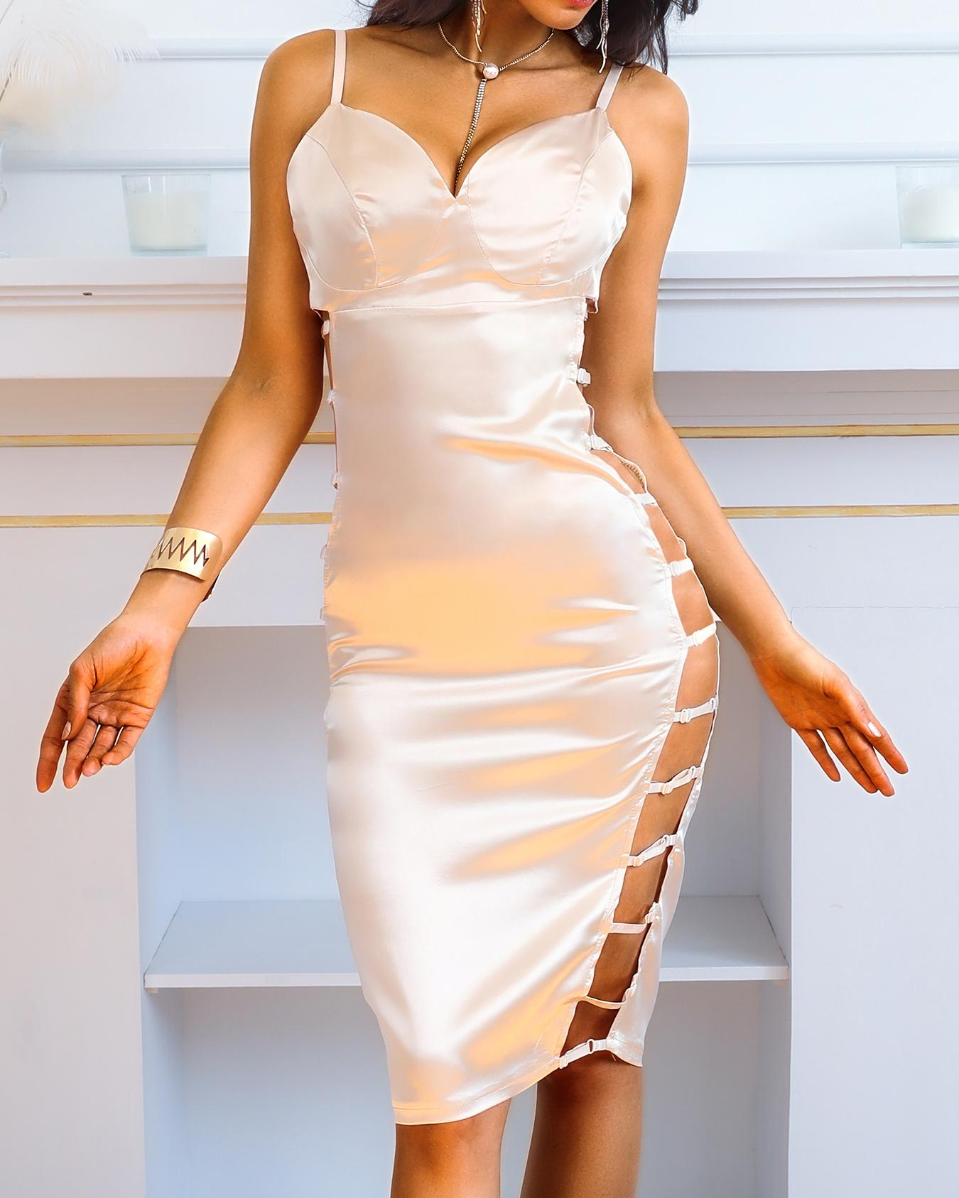 Ivrose coupon: Ladder Cutout Deep V Bodycon Dress