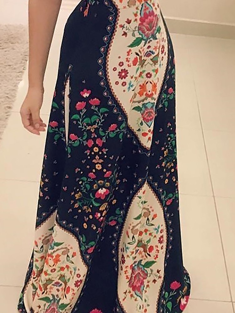 boutiquefeel / Retro Floral Print Short Sleeve Maxi Dress