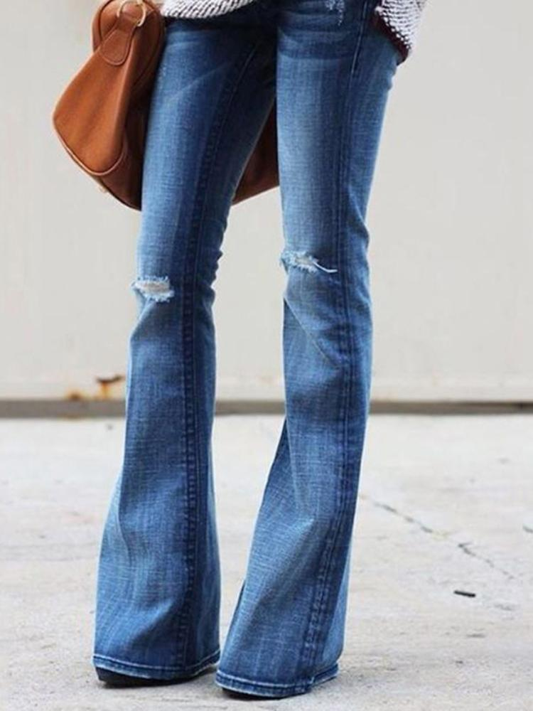 Cut Out Knee Raw Hem Flared Jeans