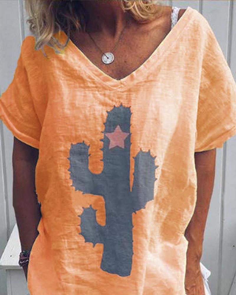 cactus style V-Neck T-shirt thumbnail
