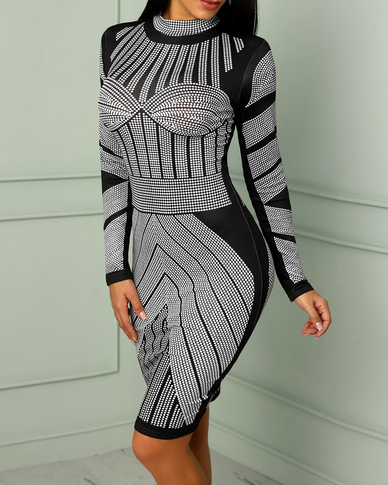 Dots Print Mock Neck Bodycon Dress