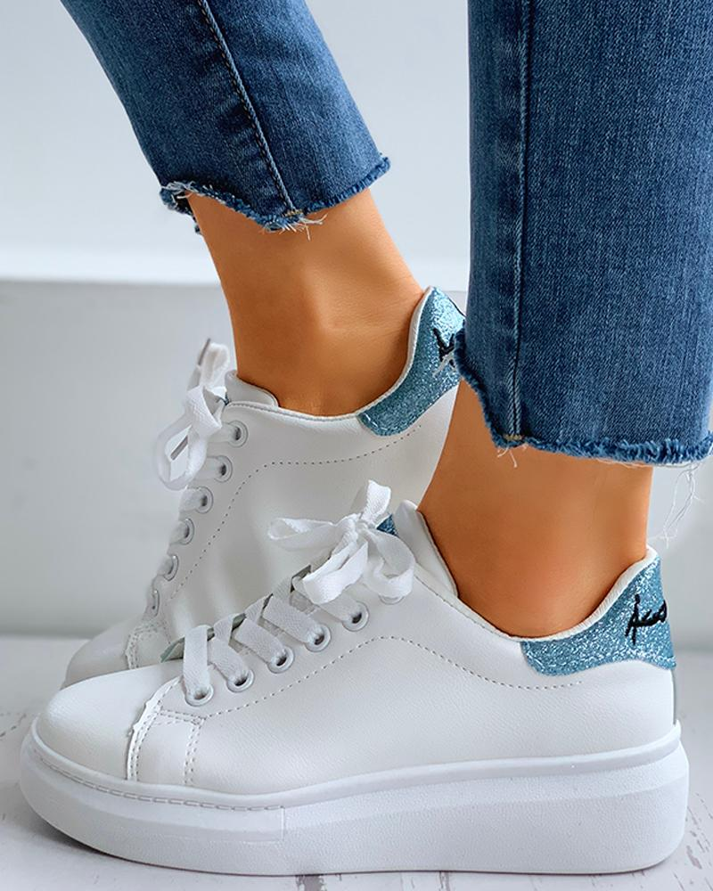 Glitter Letter Embroidery Lace-Up Casual Sneakers thumbnail