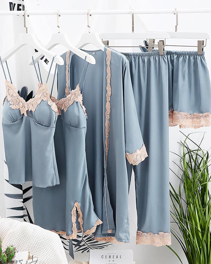 Comfy Ice Slik Five-piece Cami Pajamas Sets thumbnail
