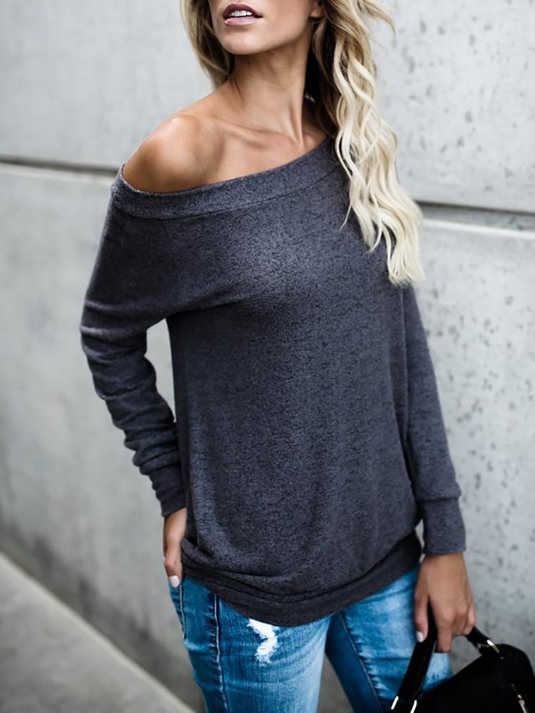 Joyshoetique coupon: Fashion Solid Off Shoulder Casual Blouse - Dark Grey