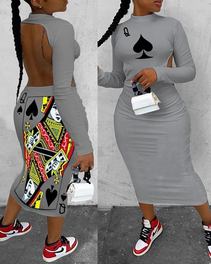 Poker Print Backless Long Sleeve Dress thumbnail