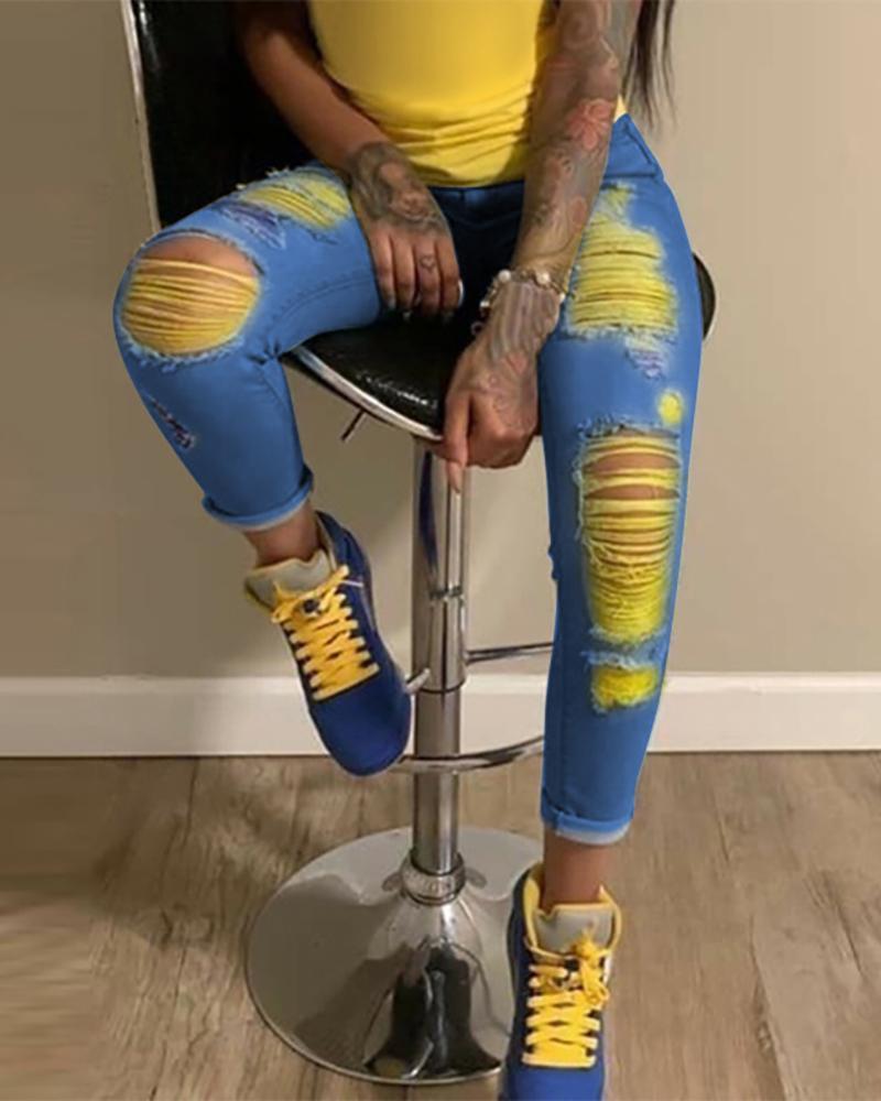 Colorblock Distressed Cutout Denim Pants