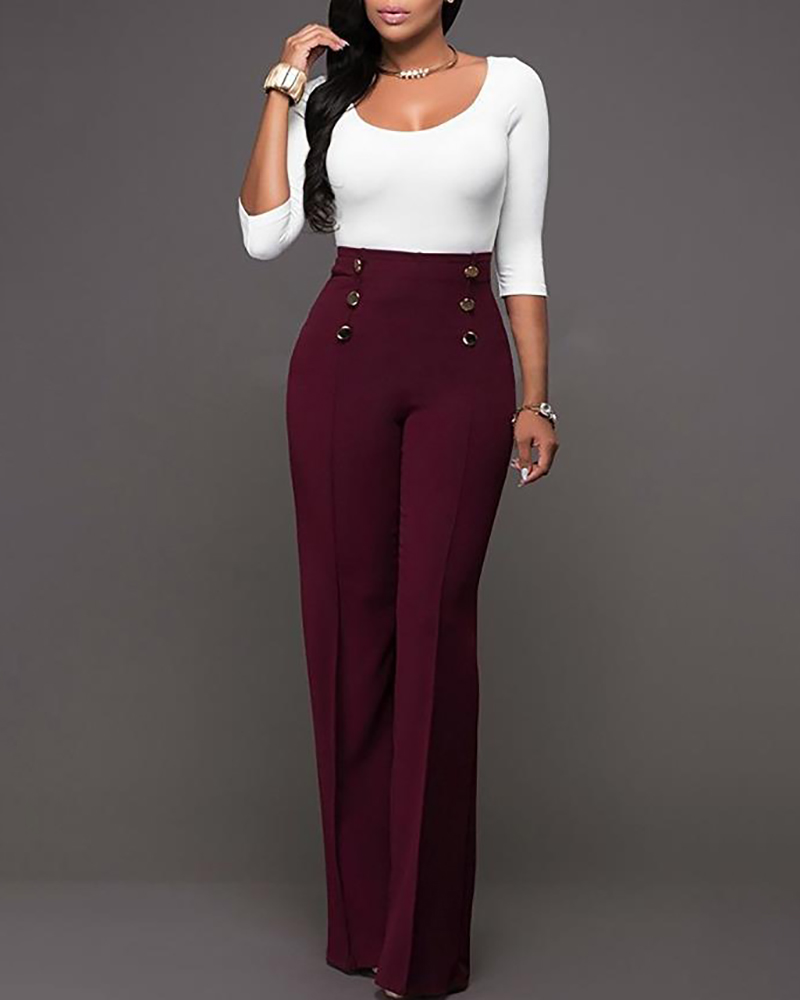 Double-breasted High Waist Wide Leg Pants thumbnail