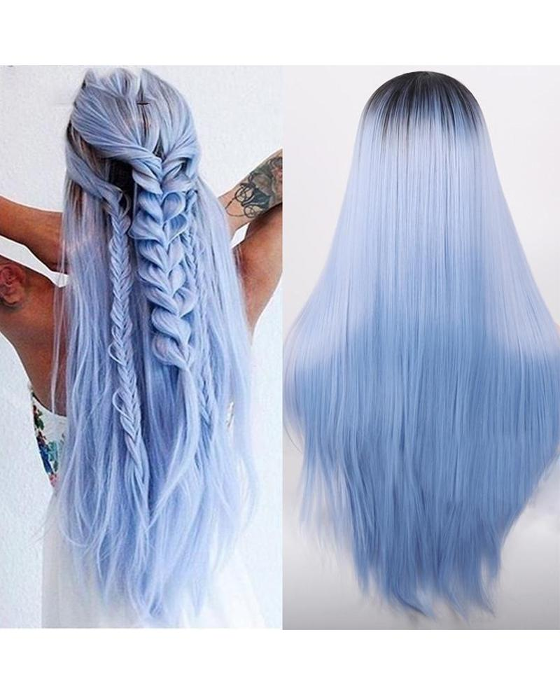 Gradient Blue Color Long Straight Hair Wig