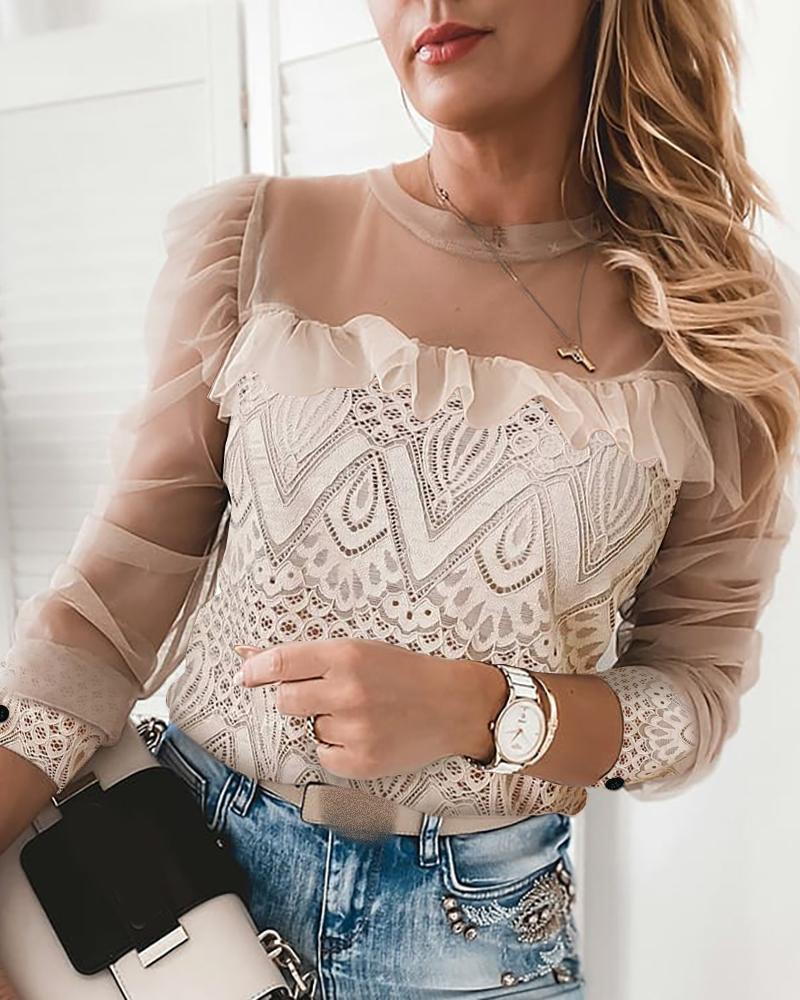 Lace Sheer Mesh Ruffles Top