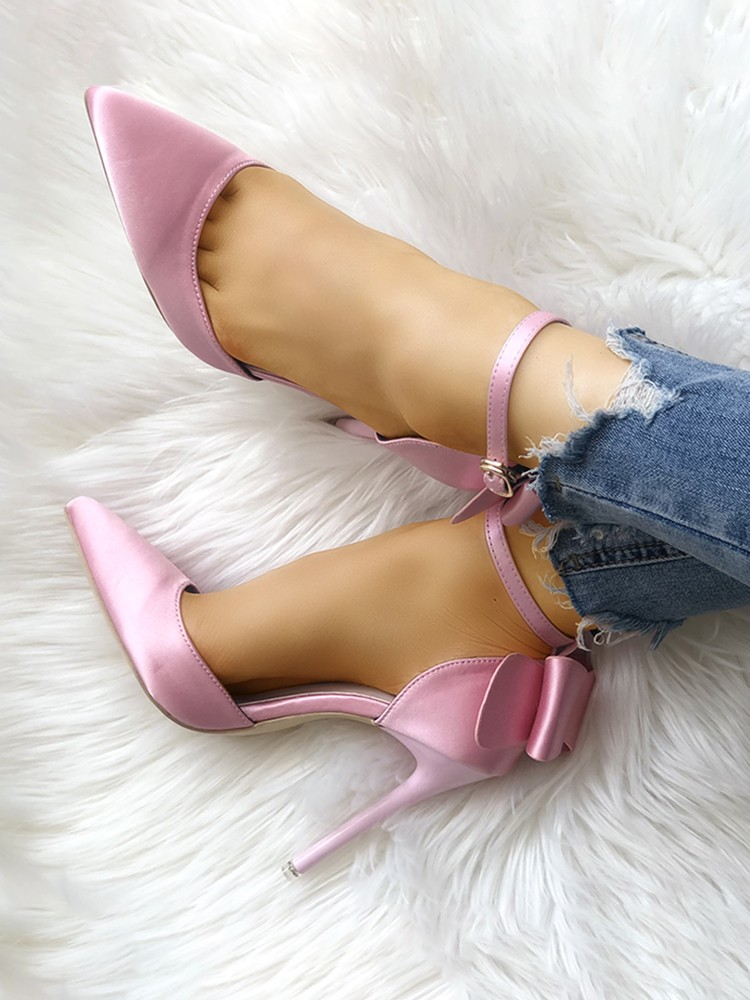 boutiquefeel / Satin Bowknot Ankle Strap Peep Toe Heels