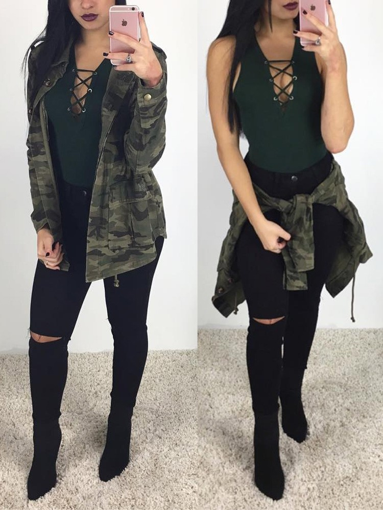 Autumn Fashion Buttoned Camouflage Jacket