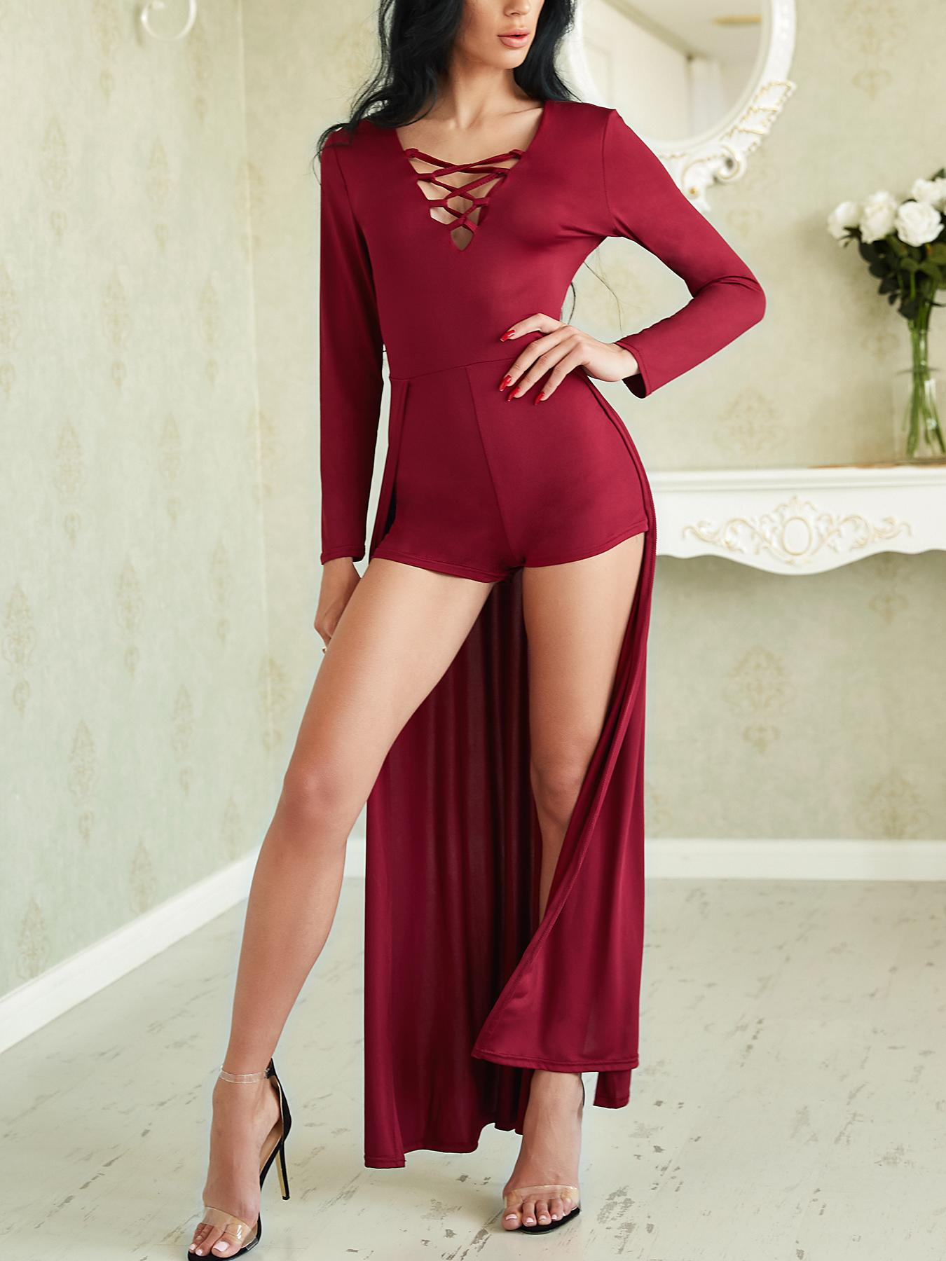 e5b66b639840f Sexy Lace-up Patchwork Maxi Romper Dress Online. Discover hottest trend  fashion at chicme.com