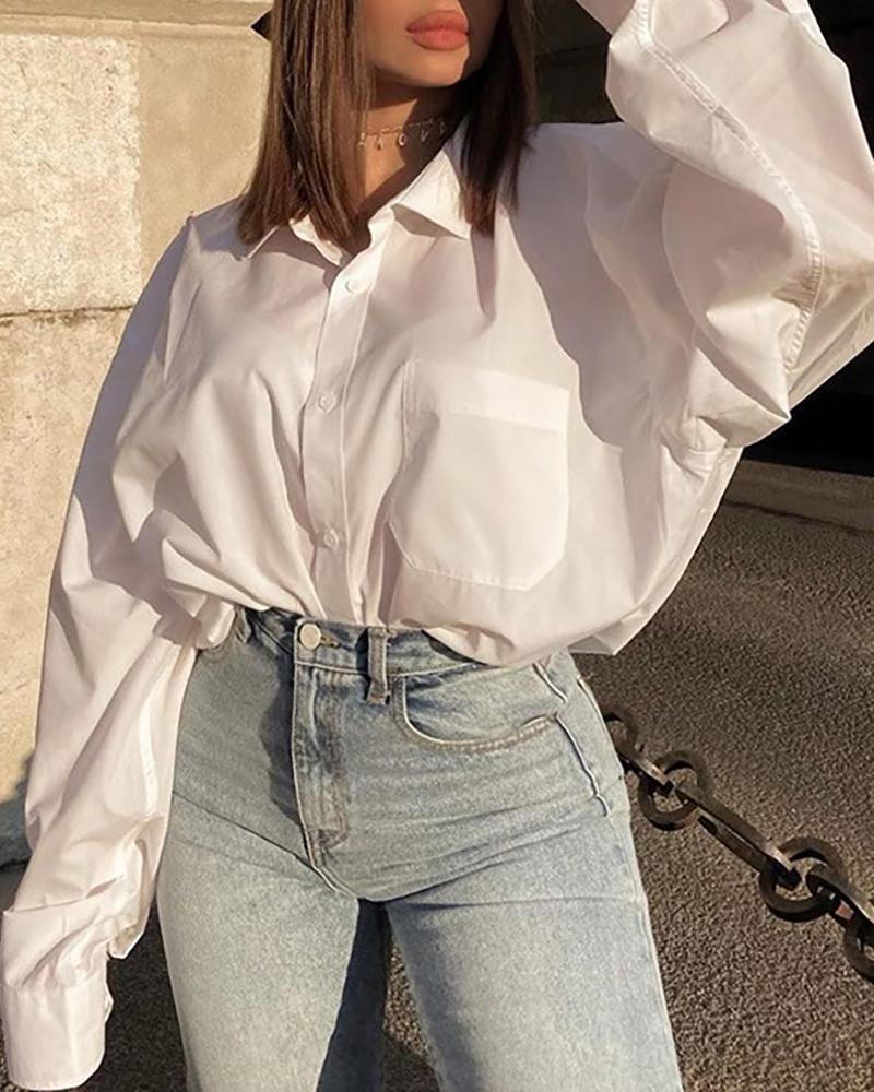 Button Design Long Sleeve Casual Shirt thumbnail