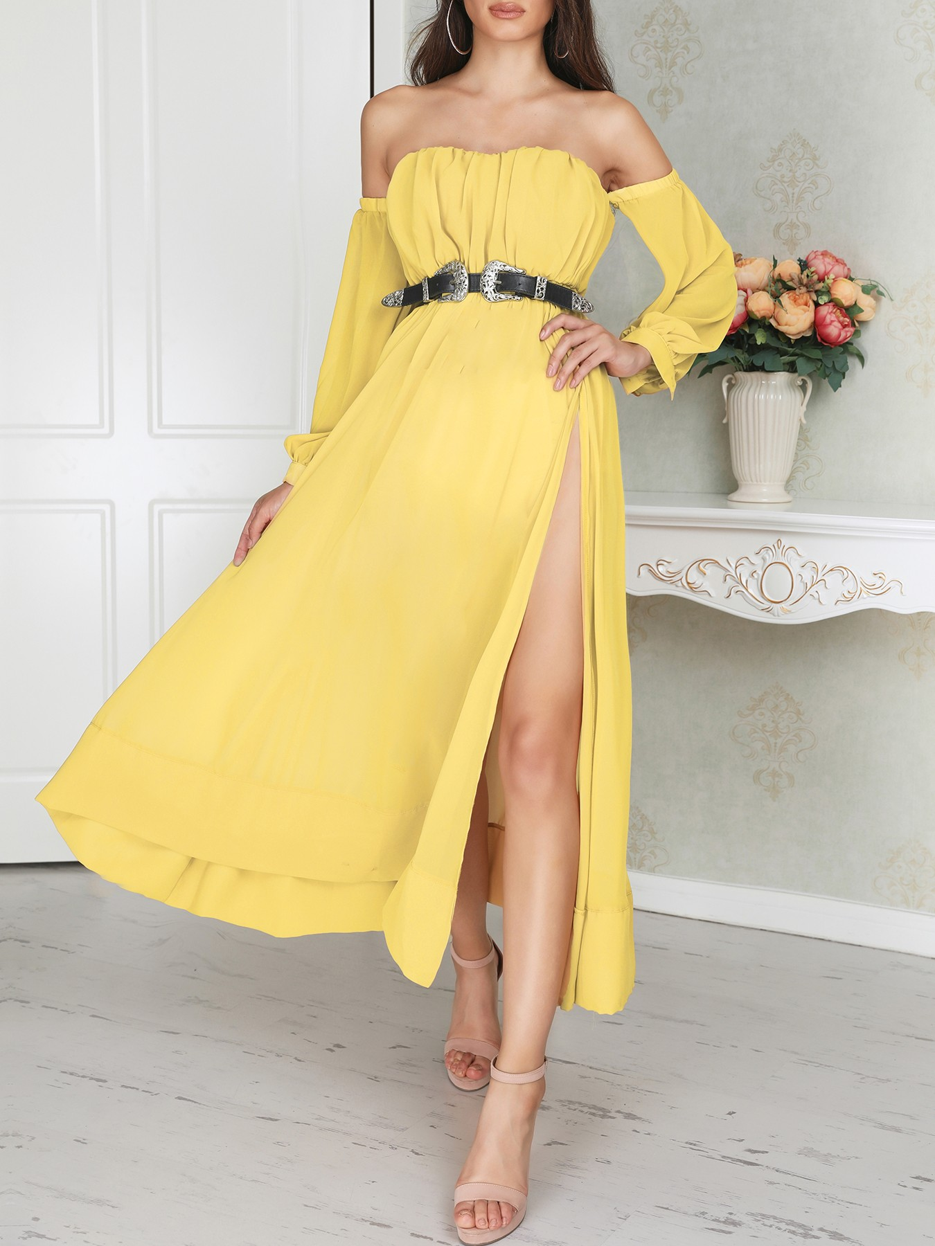 boutiquefeel / Off Shoulder Lantern Sleeve High Slit Maxi Dress