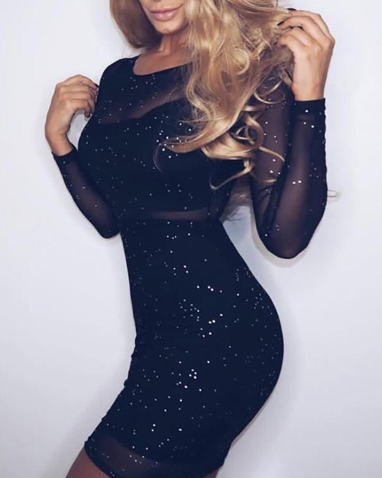 Ivrose coupon: Glittering Sheer Mesh Bodycon Dress