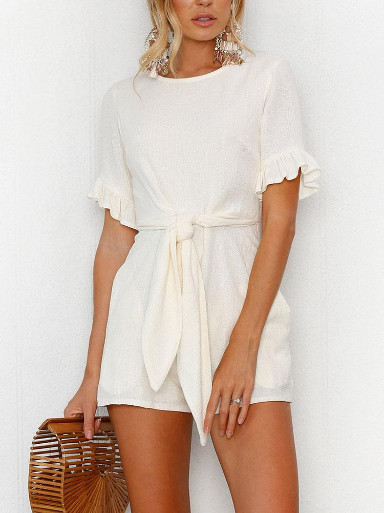 boutiquefeel / Solid Waist Belted Ruffles Casual Playsuit