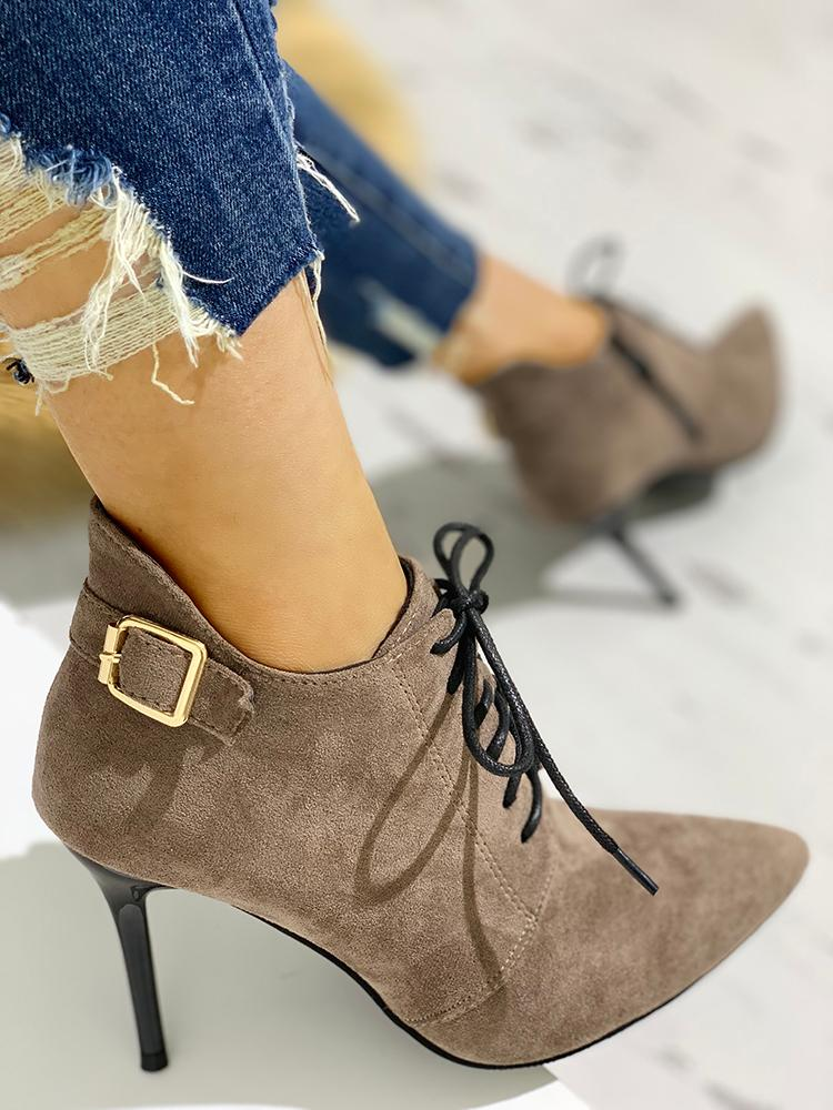 boutiquefeel / Point Toe Lace-Up Thin Heels