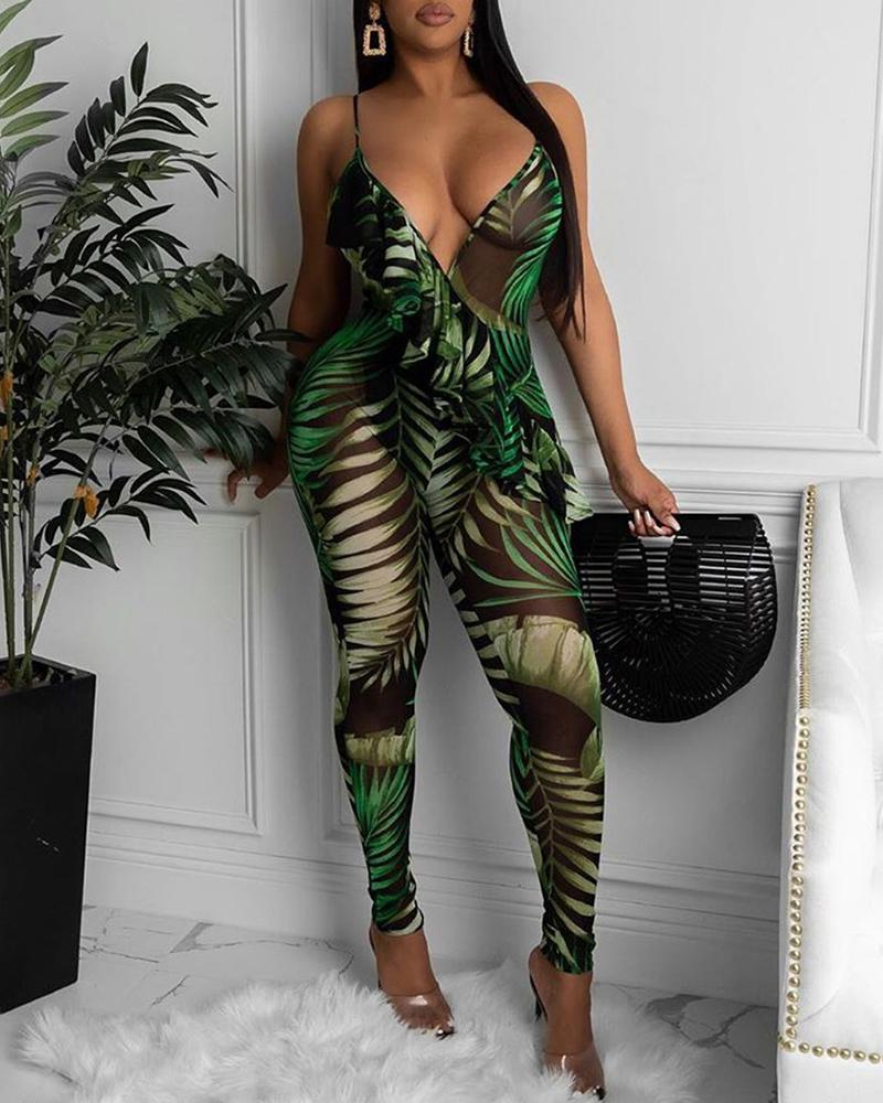 Palm Leaf Print Ruffles Plunge Sheer Mesh Jumpsuit thumbnail