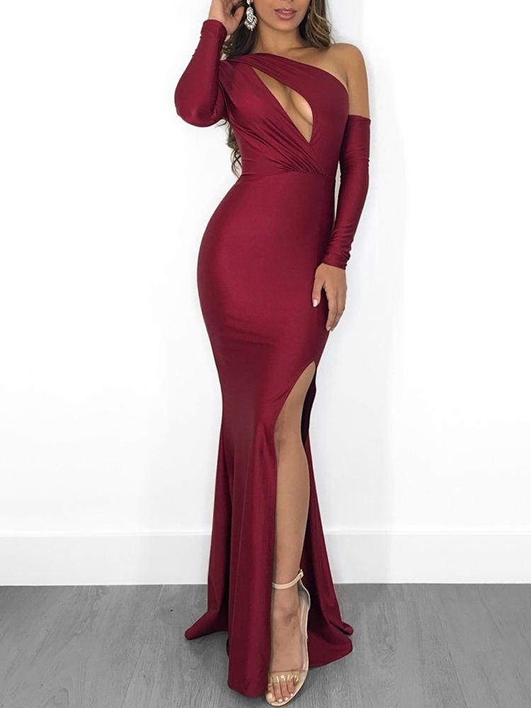 boutiquefeel / Solid One Shoulder Cut Out Slit Side Party Dress