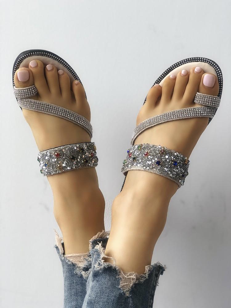 boutiquefeel / Shiny Sequins Embellished Toe Post Sandals