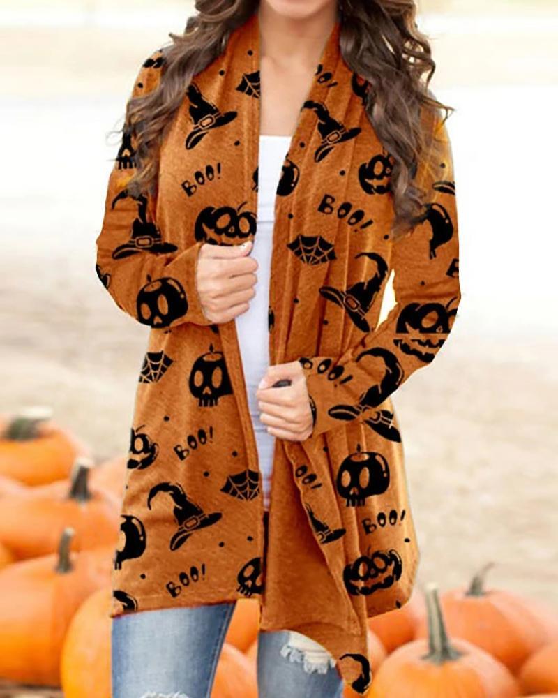 Halloween Pumpkin Letter Skull Print Long Sleeve Cardigan thumbnail