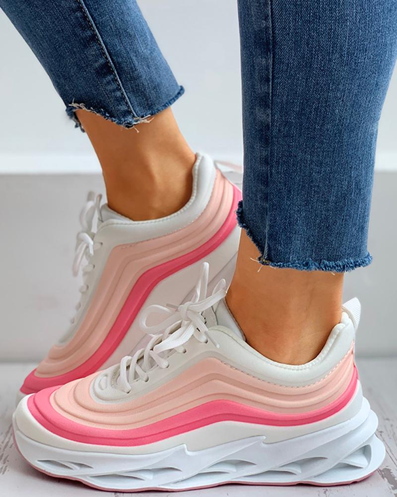 Colorblock Lace-up Muffin Breathable Sneakers thumbnail