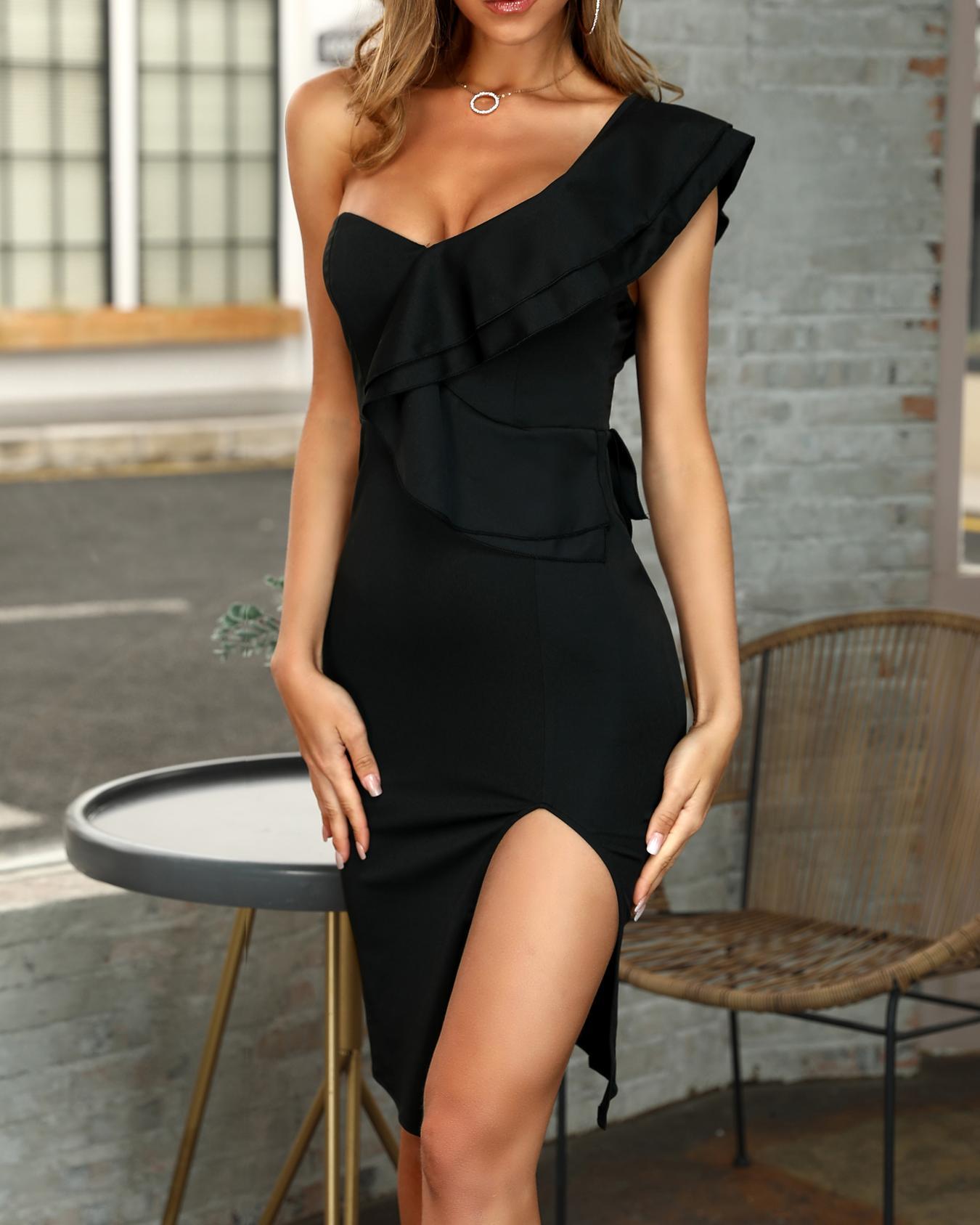 Solides One-Shoulder-Rüschen-Trimm-Schlitz-Bodycon-Kleid