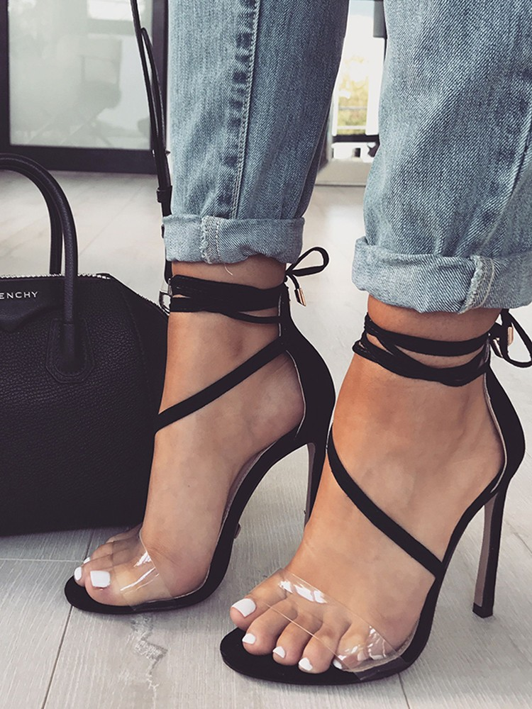 boutiquefeel / Transparent Strap Peep Toe Heeled Stiletto Sandals