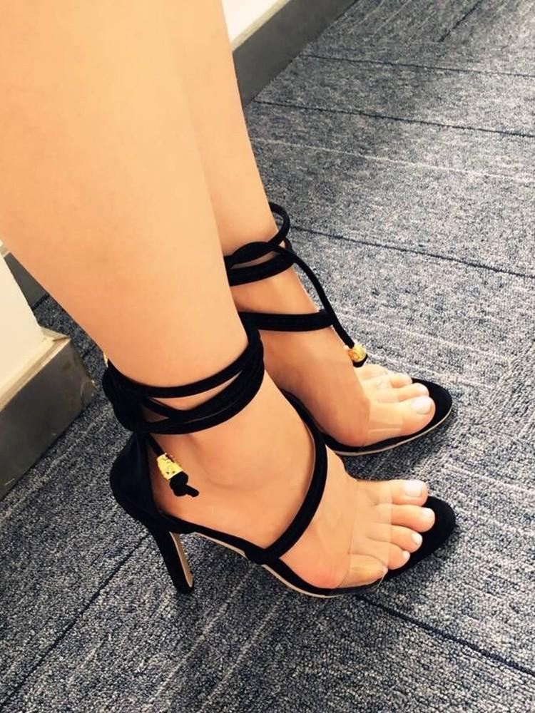 boutiquefeel / Transparent Strap Peep Toe Heeled Stiletto Sandals