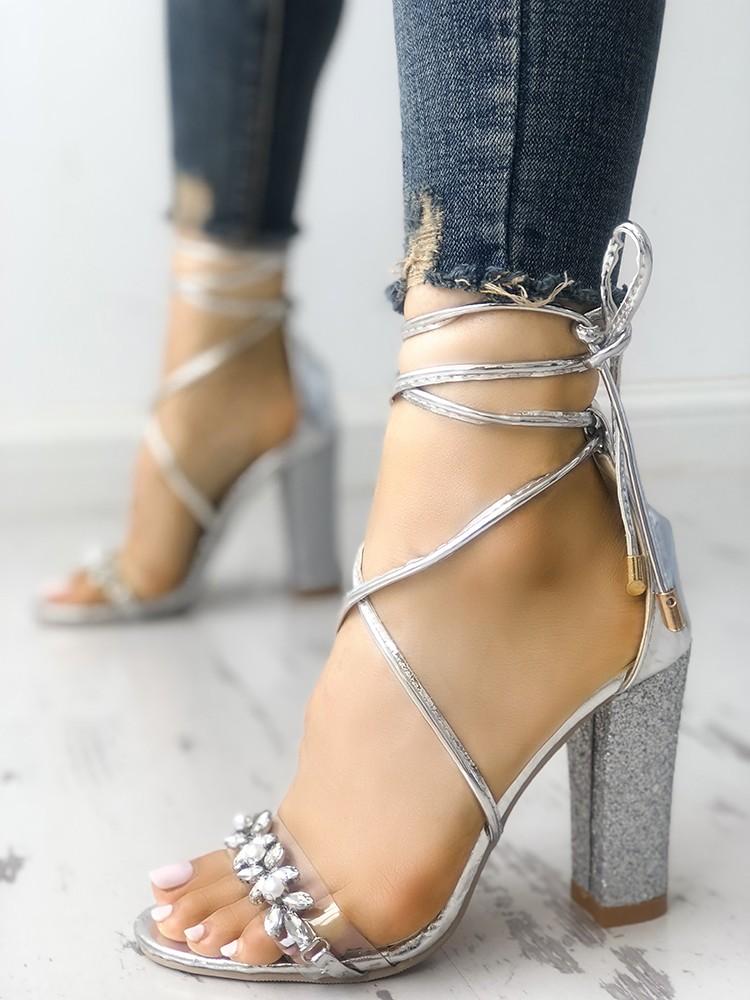 64a8f74ebaf Shiny Transparent Strappy Chunky Heeled Sandals