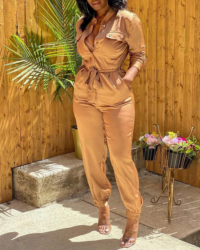 Buttoned Pockets Design Solid Long Sleeve Jumpsuit thumbnail