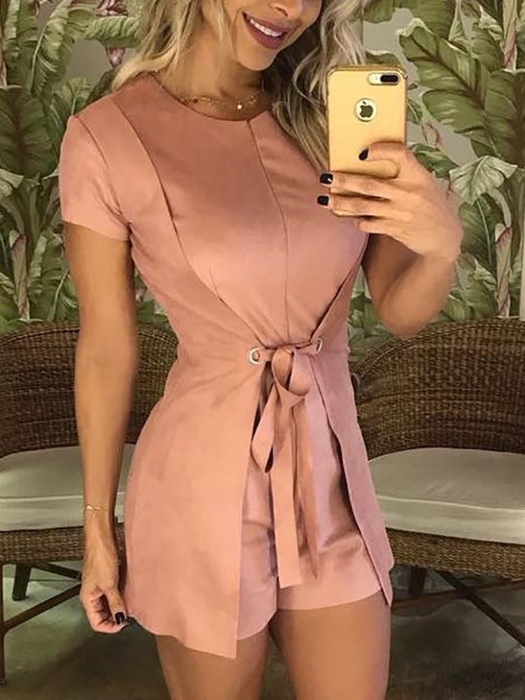 boutiquefeel / Fashion Solid Tie Waist Casual Romper