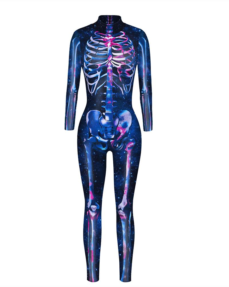 Skull Skeleton Print Zip Back Halloween Costume Jumpsuit thumbnail