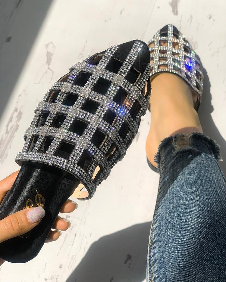 Glittering Hollow Out Pointed Toe Flat Sandals thumbnail