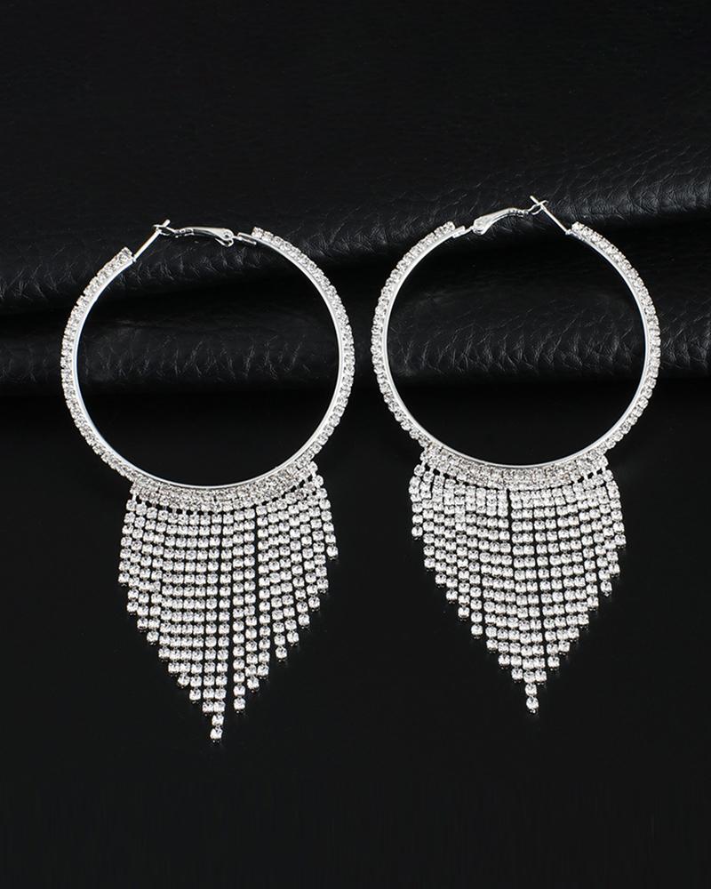 Studded Dangling Tassel Hoop Earring thumbnail