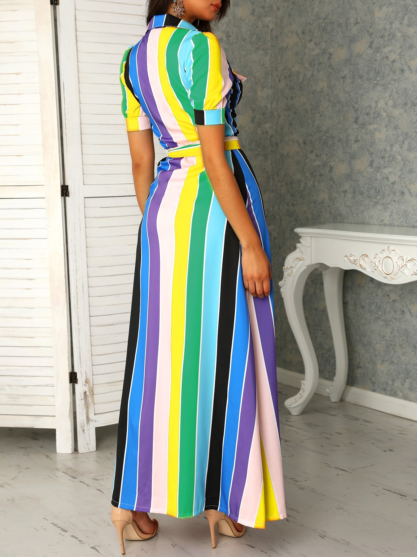 boutiquefeel / Rainbow Color Striped Buttoned Shirt Maxi Dress