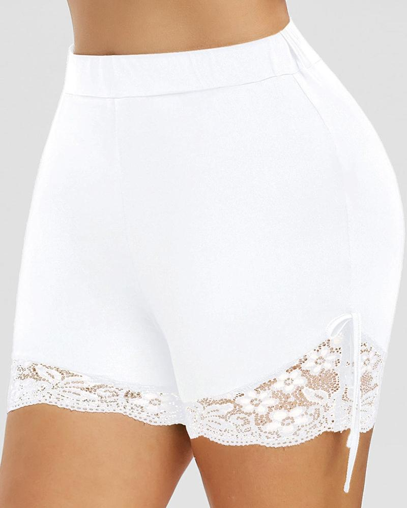 Crochet Lace Trim High Waist Sporty Shorts thumbnail
