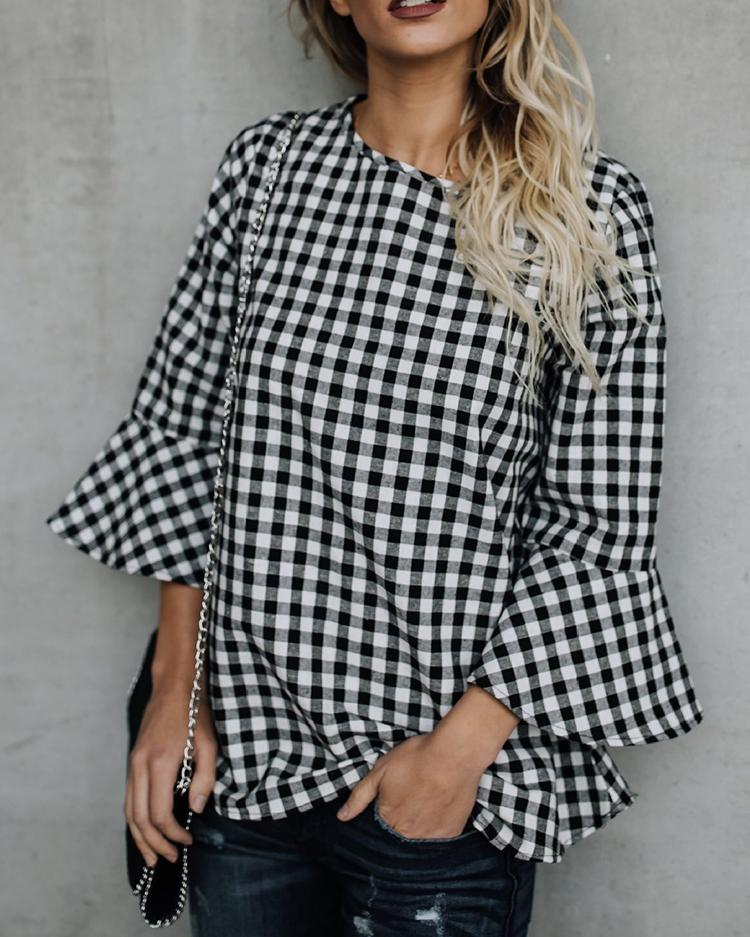 Joyshoetique coupon: Checkered Flare Sleeve Keyhole Back Casual Blouse