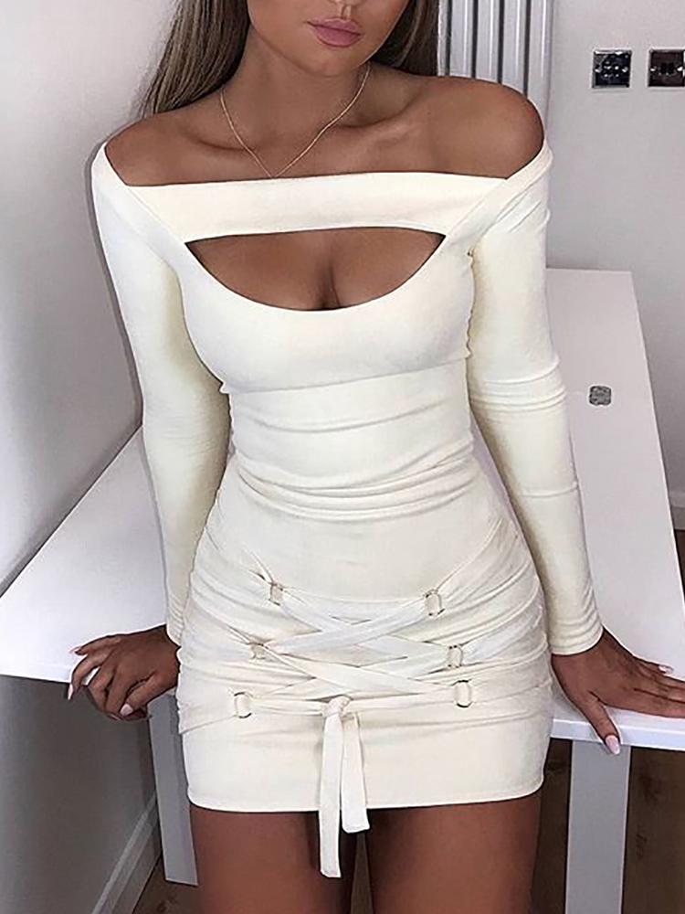Off Shoulder Cutout Lace Up Bodycon Dress
