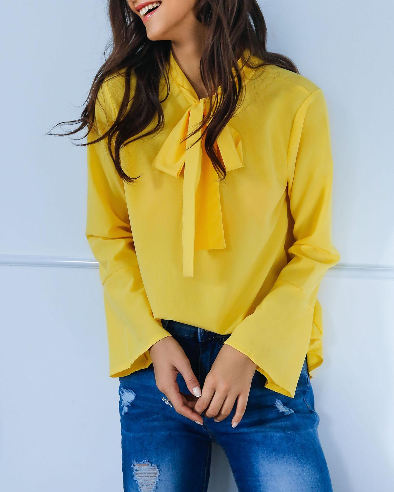 Ivrose coupon: Stylish Solid Tie Neck Flared Sleeve Blouse