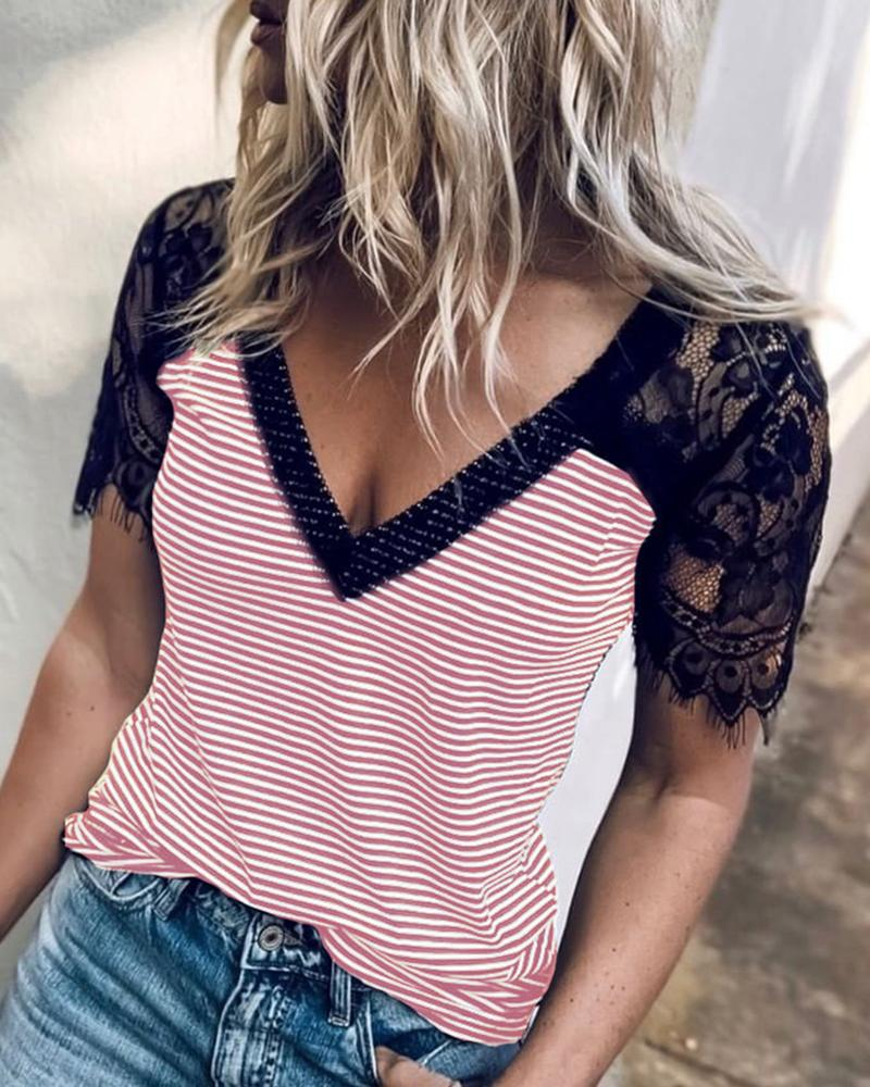 Eyelash Lace Striped Short Sleeve T-shirt