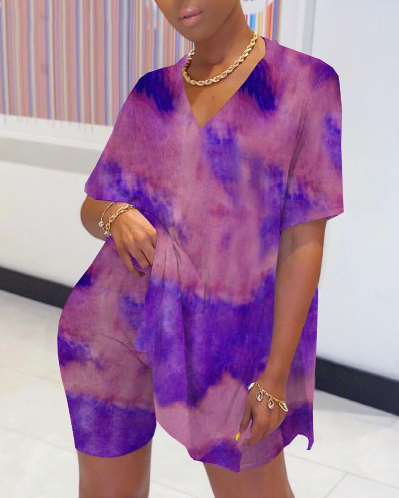 Tie Dye Print Slit Top & Short Sets thumbnail
